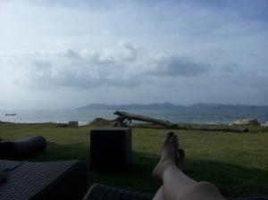 Relaxando com o visual da baía.      Foto por Anderson Alves